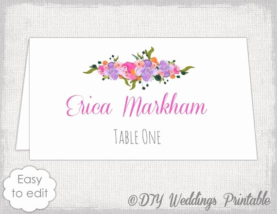 Wedding Name Card Template Unique Place Card Template Diy Wedding Name Cards Pink orange