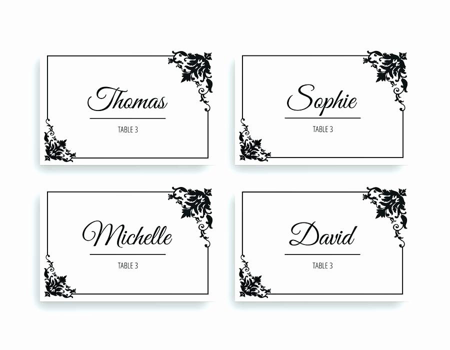 Wedding Name Card Template Unique Table Place Cards Leaf Initial Printable Name Card