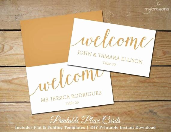 Wedding Name Cards Template Awesome Bella Script Wedding Place Cards Gold Printable by