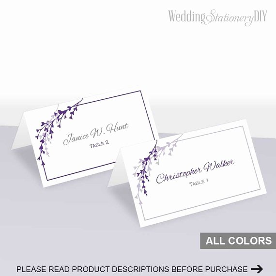 Wedding Name Cards Template Awesome Items Similar to Purple Wedding Place Cards Printable