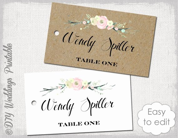 Wedding Name Cards Template Beautiful Rustic Name Card Template Rustic Flowers by