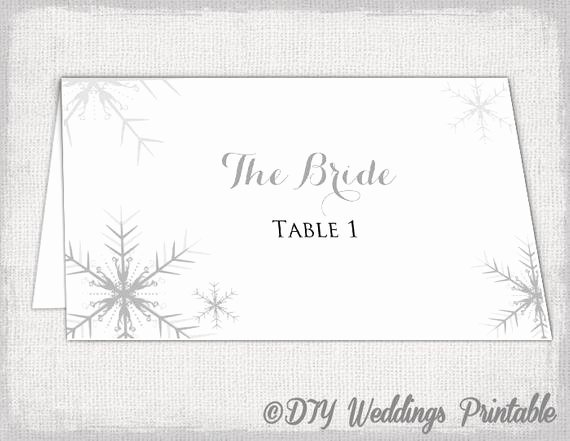 Wedding Name Cards Template Best Of Winter Wedding Place Card Template Snowflakes