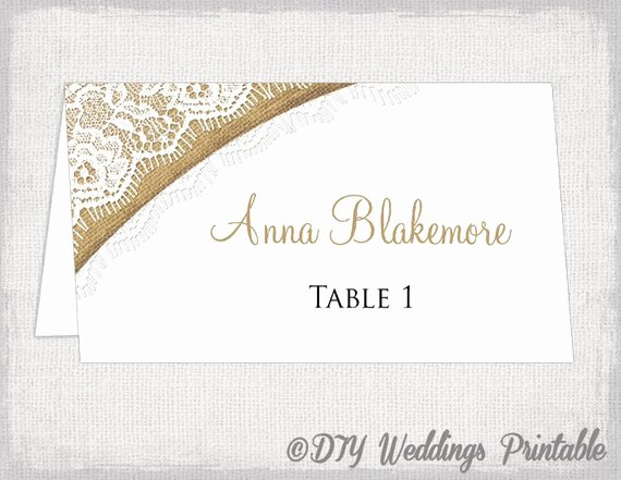Wedding Name Cards Template Fresh Rustic Place Cards Template Burlap & Lace Diy