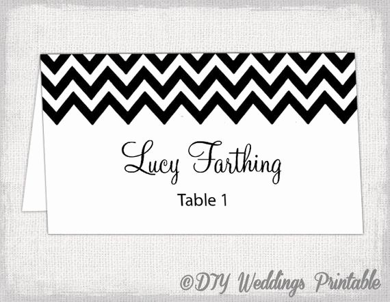 Wedding Name Cards Template Unique Black Place Card Template Chevron Name Cards Diy