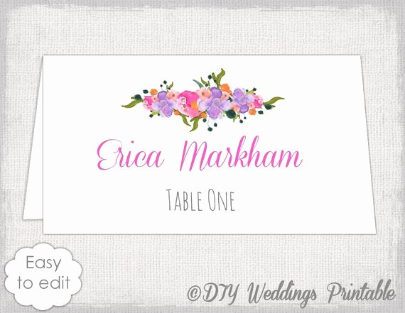 Wedding Name Cards Template Unique Place Card Template Diy Wedding Name Cards Pink orange