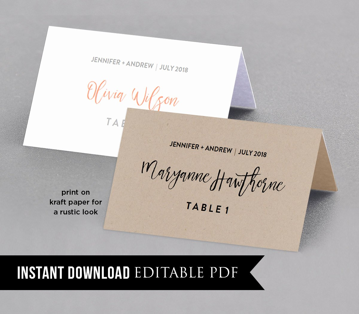 Wedding Name Cards Template Unique Wedding Place Card Template Table Number Name Card Seating