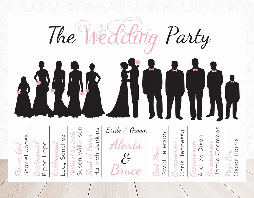 Wedding Party Lineup Template Elegant Corel Clip Art