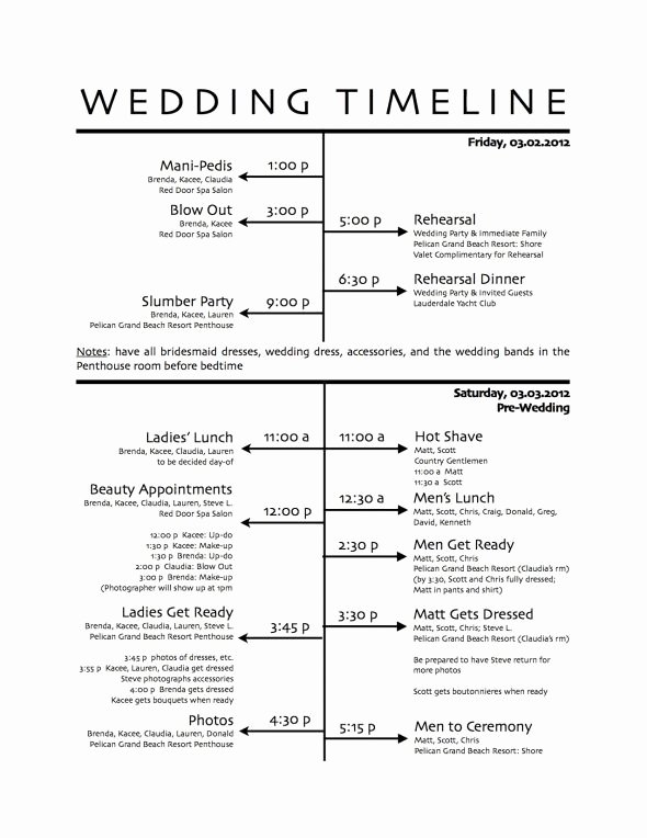 post program printable wedding day schedule