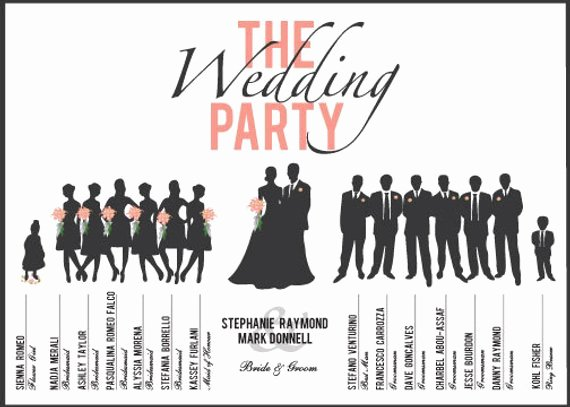 Wedding Party Lineup Template Fresh Items Similar to Custom Printable Wedding Party Program