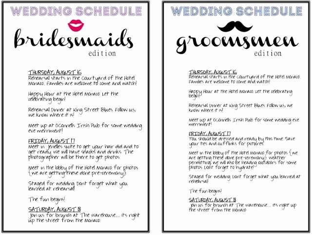 Wedding Party Lineup Template Lovely 18 Best Images About Schedule Thingys On Pinterest