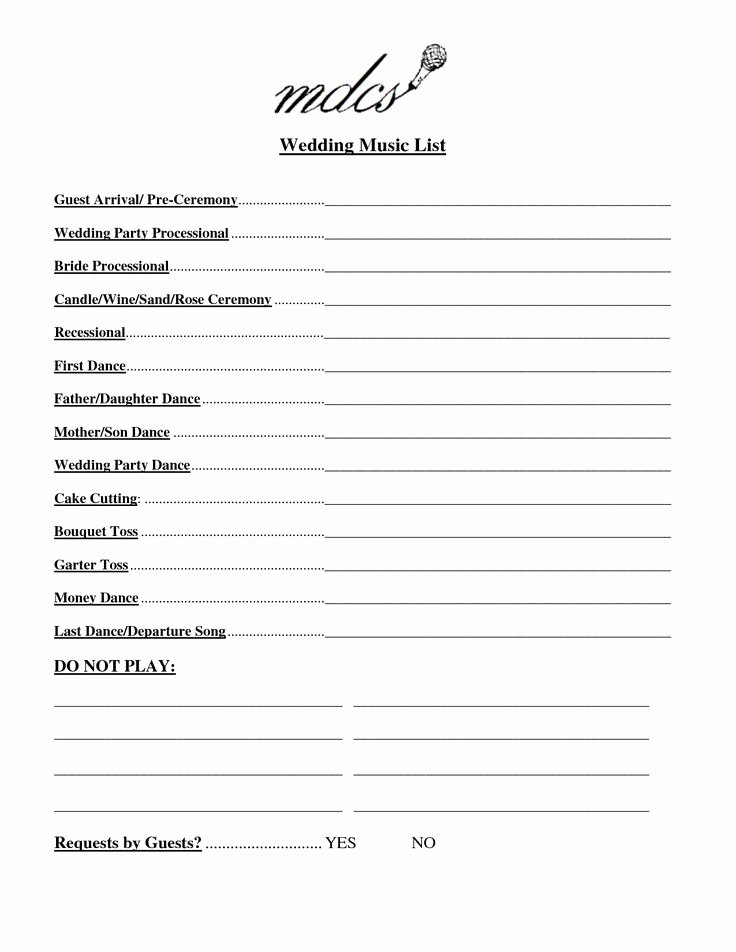 Wedding Party Lineup Template Luxury 25 Best Ideas About Wedding Music List On Pinterest