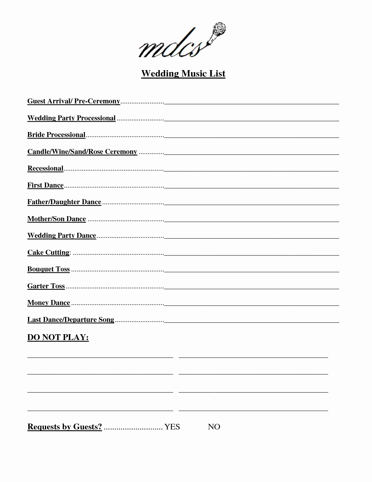 Wedding Party Lineup Template New Wedding Party List Template Free
