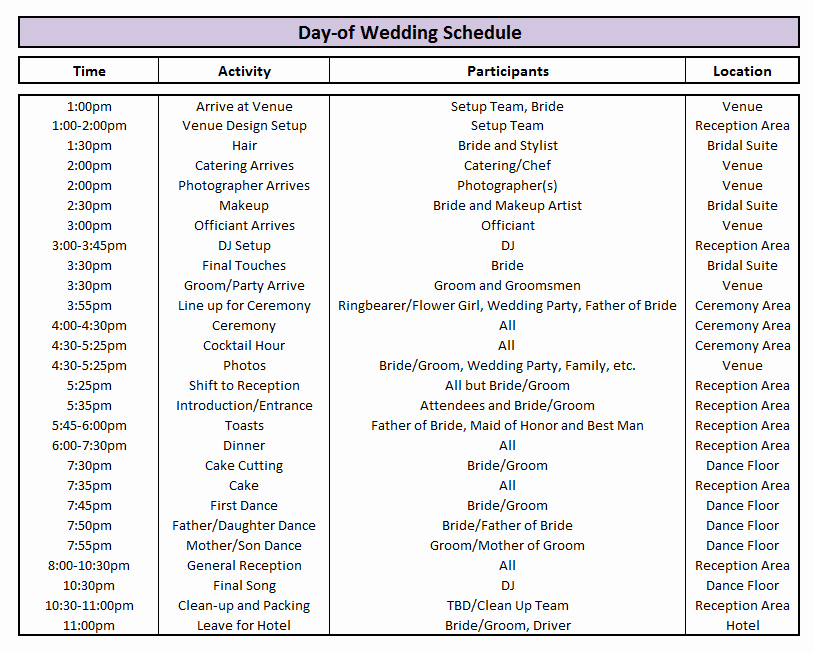 Wedding Party Lineup Template Unique Day Of Wedding Schedule Great Tips for Planning Out Your