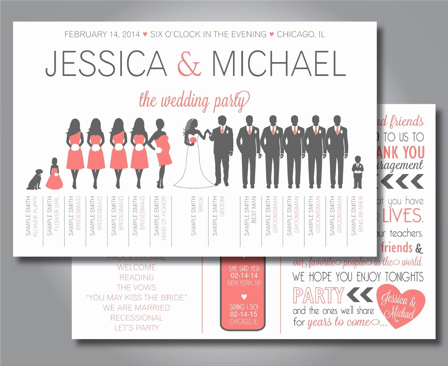 Wedding Party Lineup Template Unique Silhouette Wedding Program Wedding Party Horizontal Layout