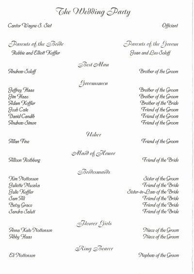 Wedding Party List Template Awesome 17 Best Images About Wedding Programs On Pinterest