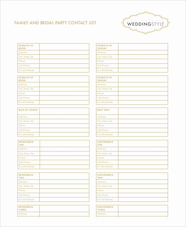 Wedding Party List Template New Free Contact List Template 10 Free Word Pdf Documents
