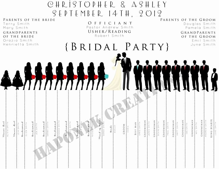 Wedding Party List Template New Fun Wedding Program Wedding Party Silhouette Template