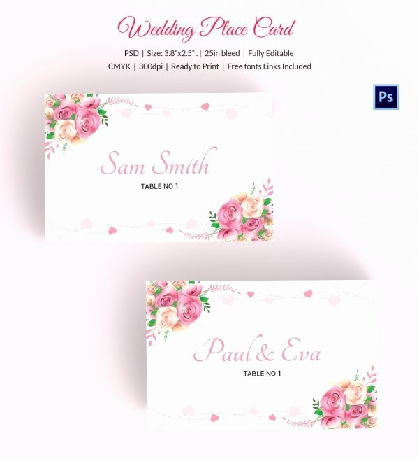 Wedding Place Card Template Awesome 25 Wedding Place Card Templates