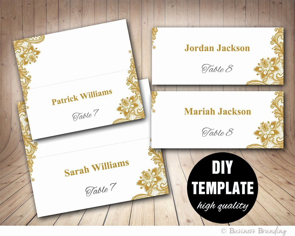 Wedding Place Card Template Best Of Gold Lace Wedding Place Cards Template Foldover Diy Gold