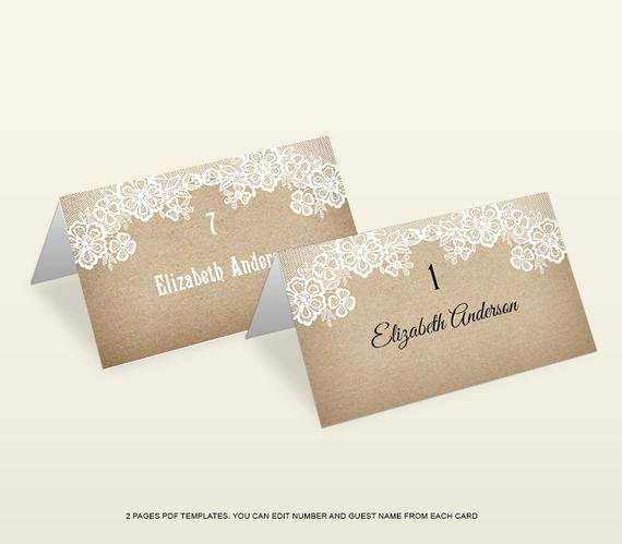 Wedding Place Card Template Best Of Rustic Lace Wedding Place Card Template by