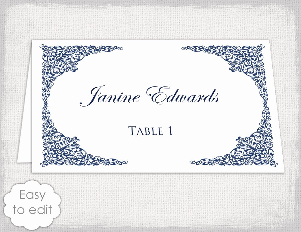 Wedding Place Cards Template Beautiful Place Card Template Navy Lace Wedding Place Card Templates