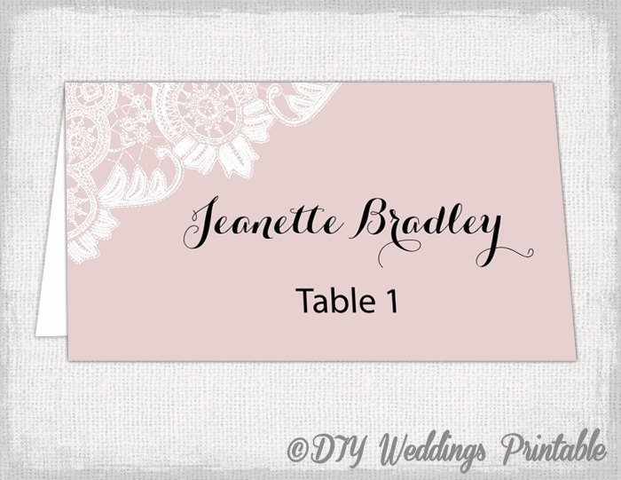 Wedding Place Cards Template Elegant Wedding Place Card Template Blush Pink Diy Wedding Name Cards