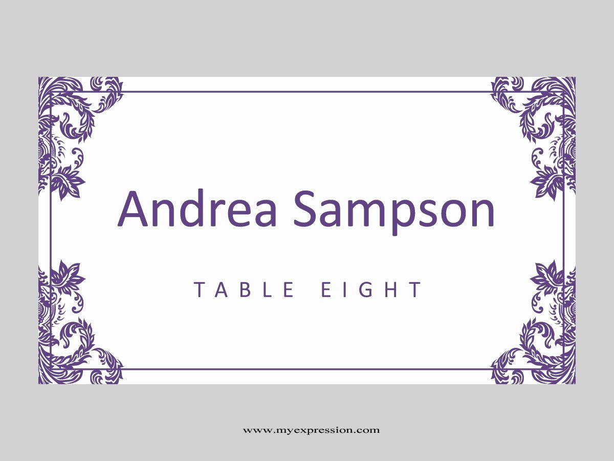 Wedding Place Cards Template Inspirational Wedding Place Cards Template Folded Purple Damask