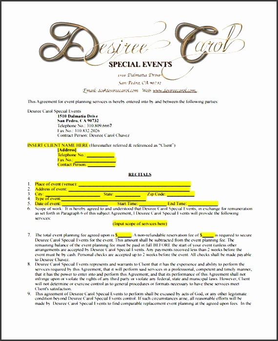 Wedding Planner Contract Template Awesome 11 Party Planner Example Sampletemplatess Sampletemplatess