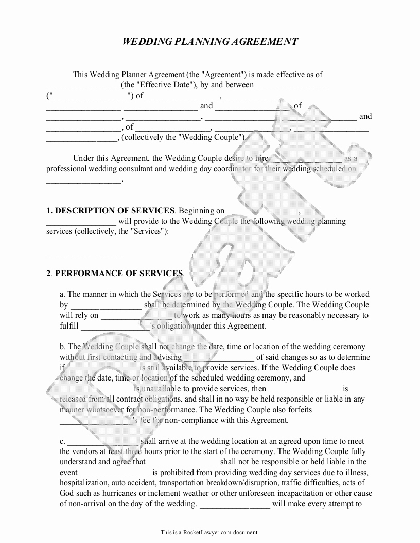 Wedding Planner Contract Template Awesome Sample Contracts for event Planners Google Search