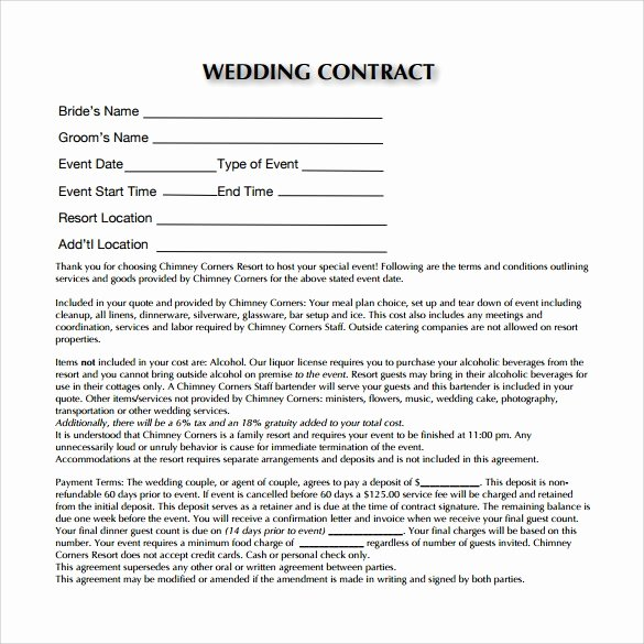 Wedding Planner Contract Template Beautiful Wedding Contract Template 23 Download Documents In Pdf