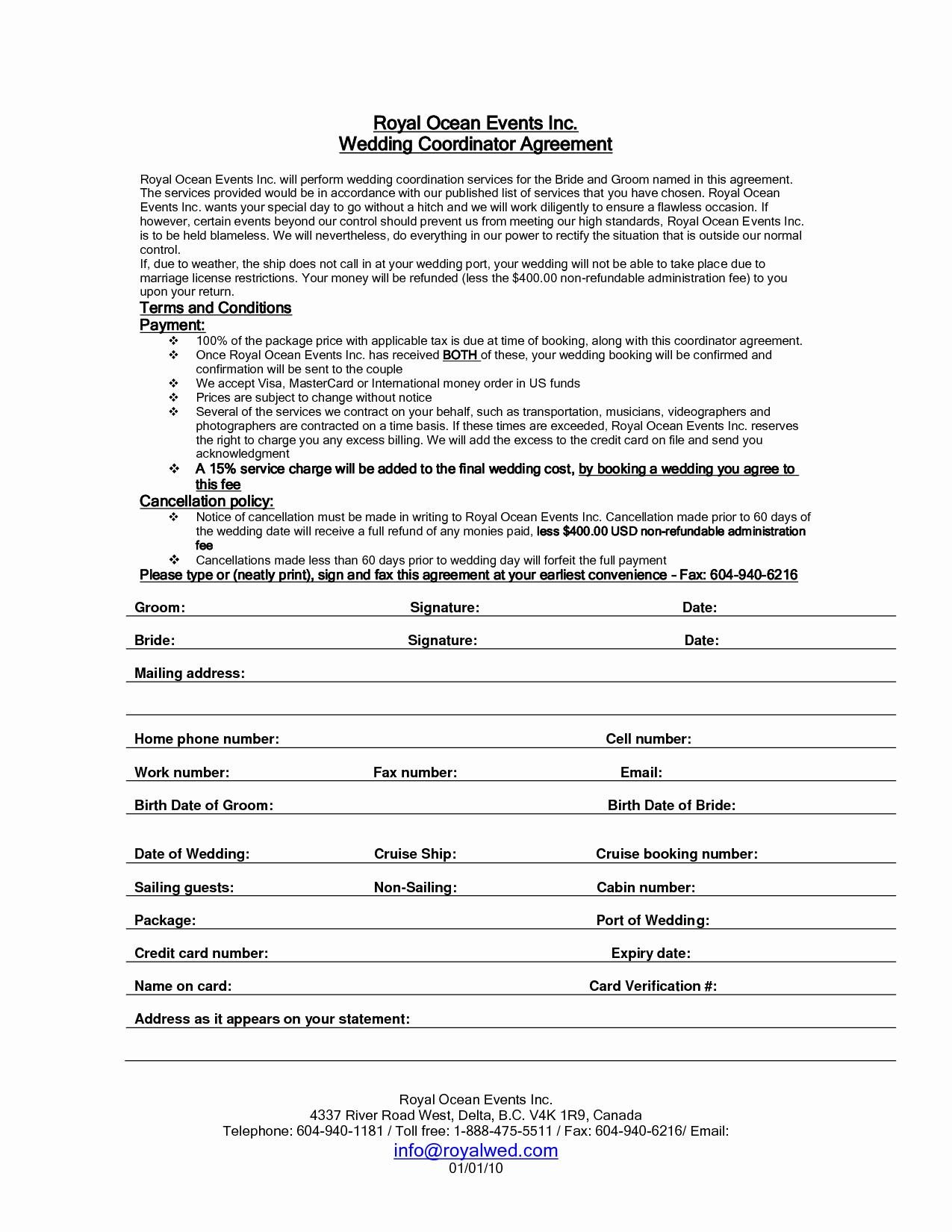 Wedding Planner Contract Template Elegant 7 Best Of Printable Wedding Planner Contract