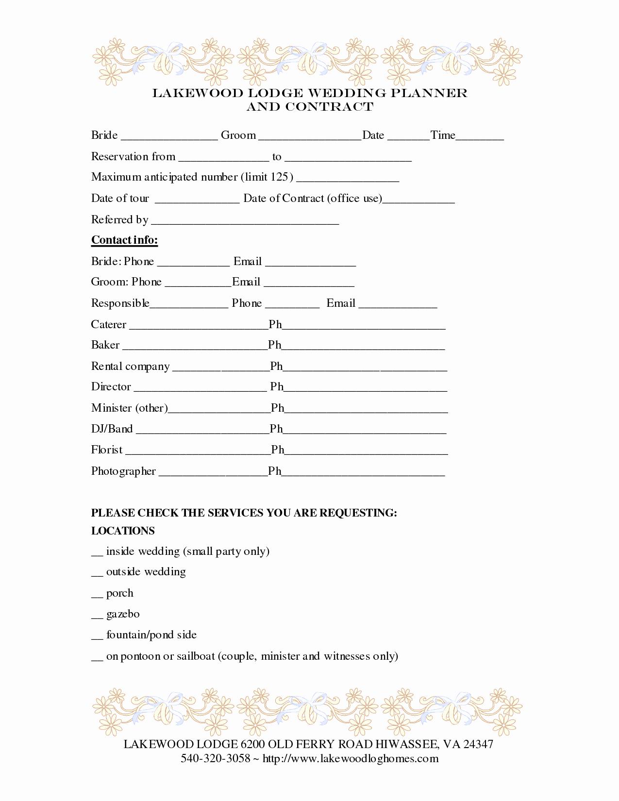 Wedding Planner Contract Template Elegant Wedding Planner Contract Template