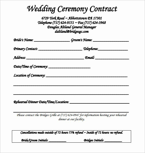 Wedding Planner Contract Template Inspirational Wedding Contract Template 24 Download Free Documents