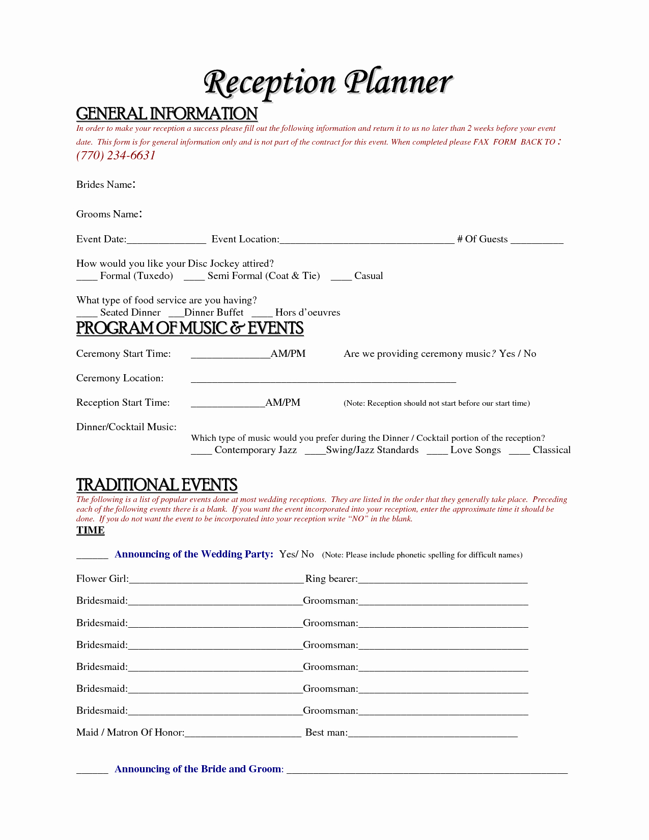 Wedding Planner Contract Template Lovely 6 Best Of Wedding Reception Planner Printables