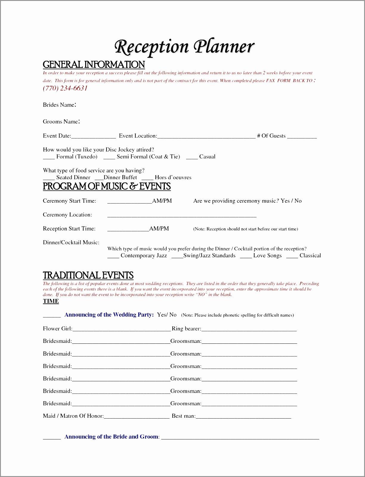 Wedding Planner Contract Template Unique 5 Wedding Dj Playlist Template Utowo