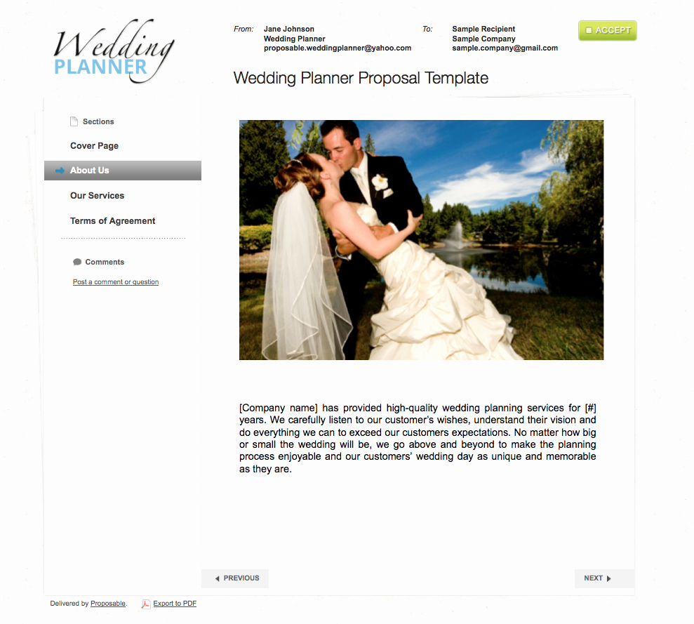 Wedding Planner Website Template Inspirational Business Proposal Templates the Proposable Blogthe