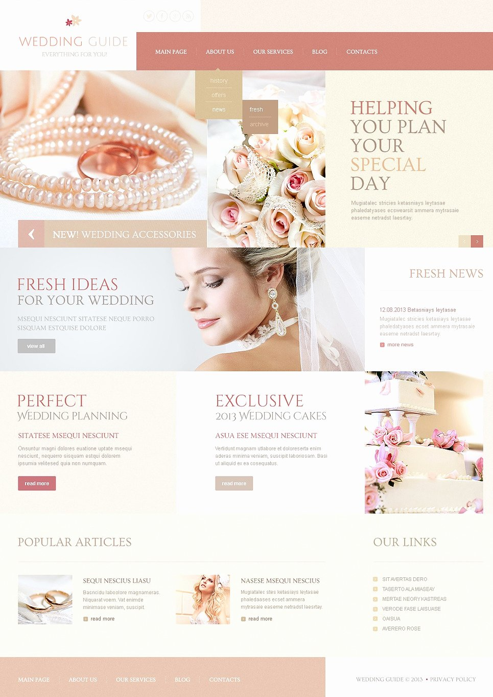 Wedding Planner Website Template New Wedding Guide Joomla Template