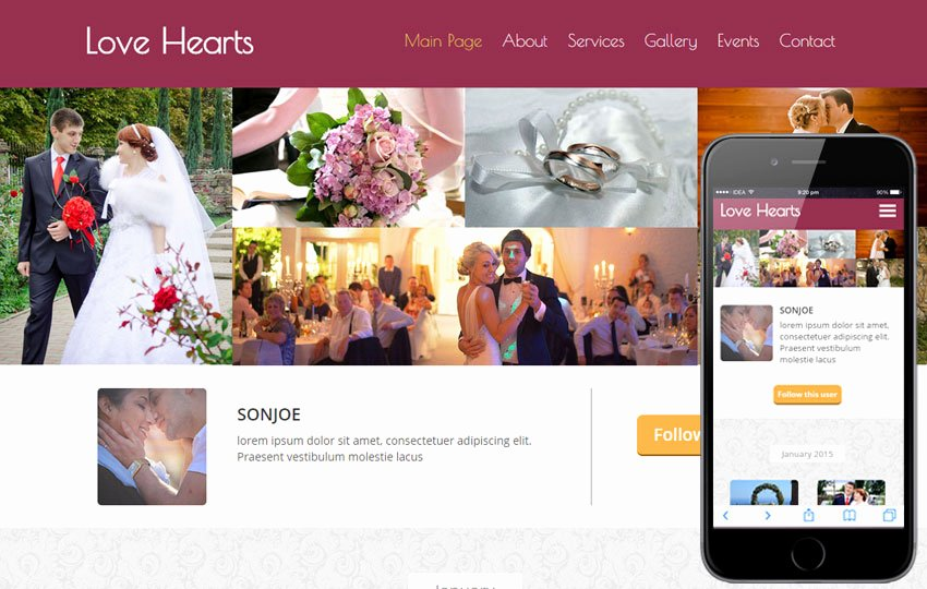 Wedding Planner Website Template Unique Love Hearts A Wedding Planner Flat Bootstrap Responsive