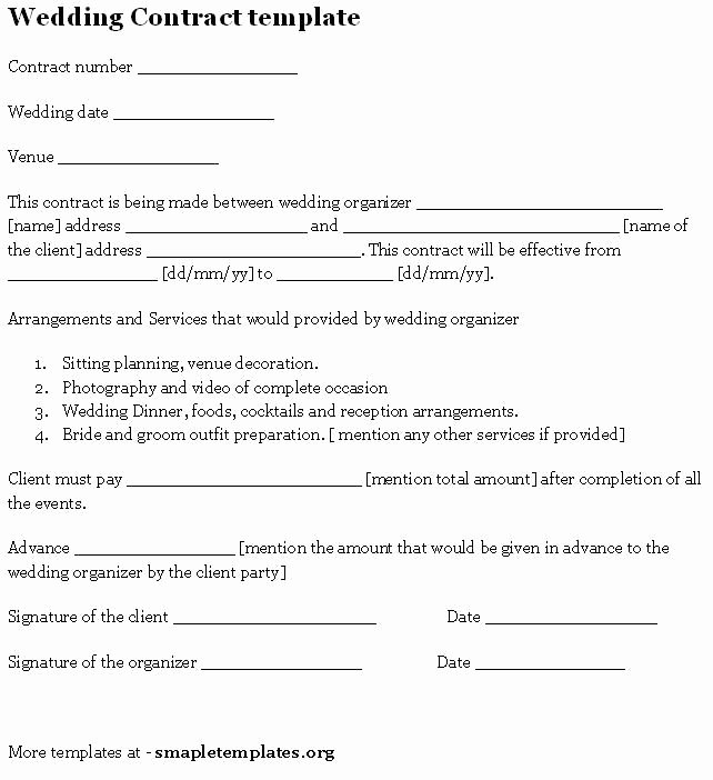 Wedding Planners Contract Template Awesome Wedding Contract Template Sample Templates