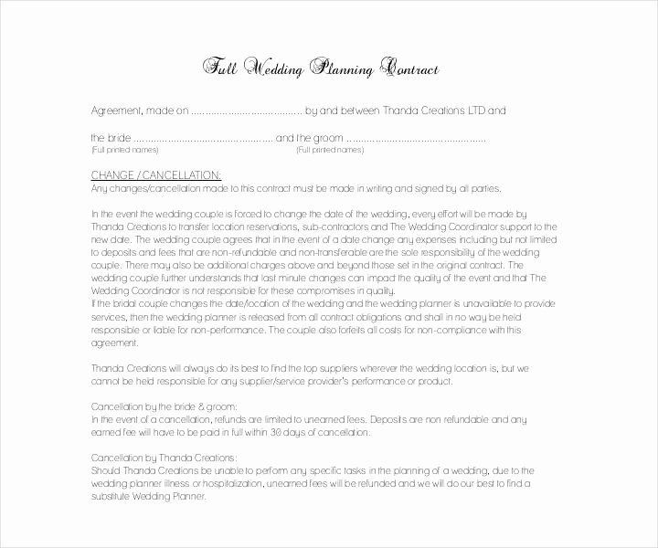 Wedding Planners Contract Template Beautiful 13 Wedding Contract Templates Free Pdf Doc format