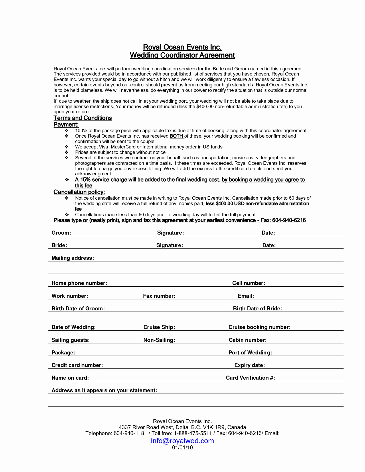 post printable wedding planner contract agreement