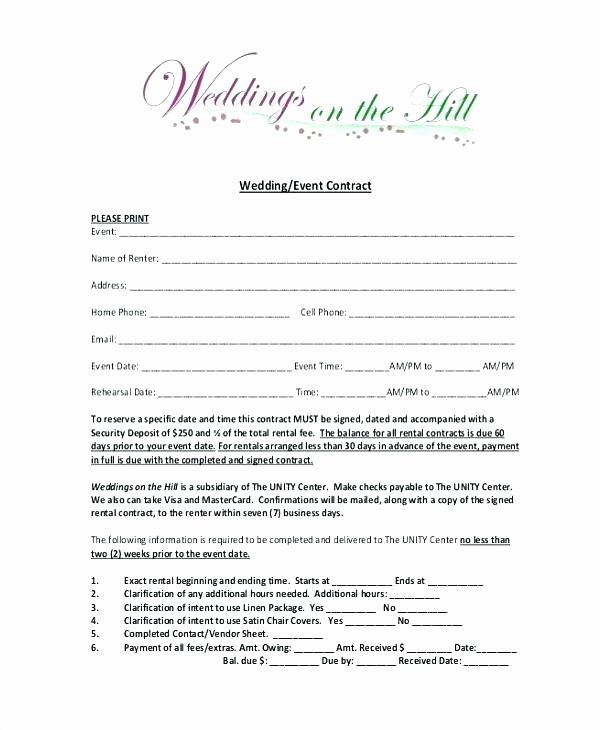 Wedding Planners Contract Template Beautiful event Space Rental Contract Template Venue Agreement