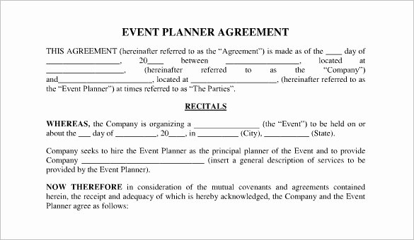 Wedding Planners Contract Template Fresh event Contract Template 19 Word Excel Pdf Documents