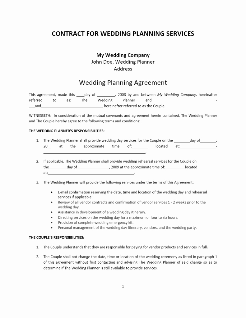 Wedding Planners Contract Template Fresh Wedding Planner Contract Template