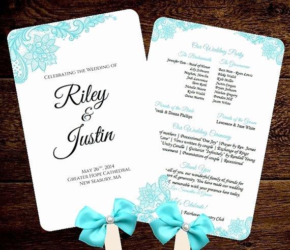 Wedding Program Fans Template Awesome Wedding Fan Program Template Printable Tiffany Blue Fan