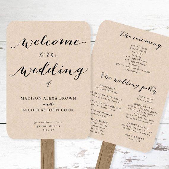 Wedding Program Fans Template Awesome Wedding Program Fan Template Printable Rustic Wedding Fan