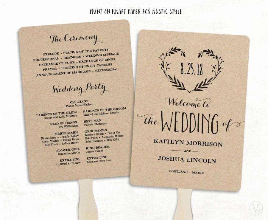 Wedding Program Fans Template Elegant Printable Wedding Program Template Wedding Fan Programs
