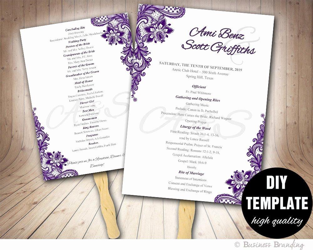 Wedding Program Fans Template Fresh Lace Purple Wedding Fan Program Diy Instant Downloadprintable
