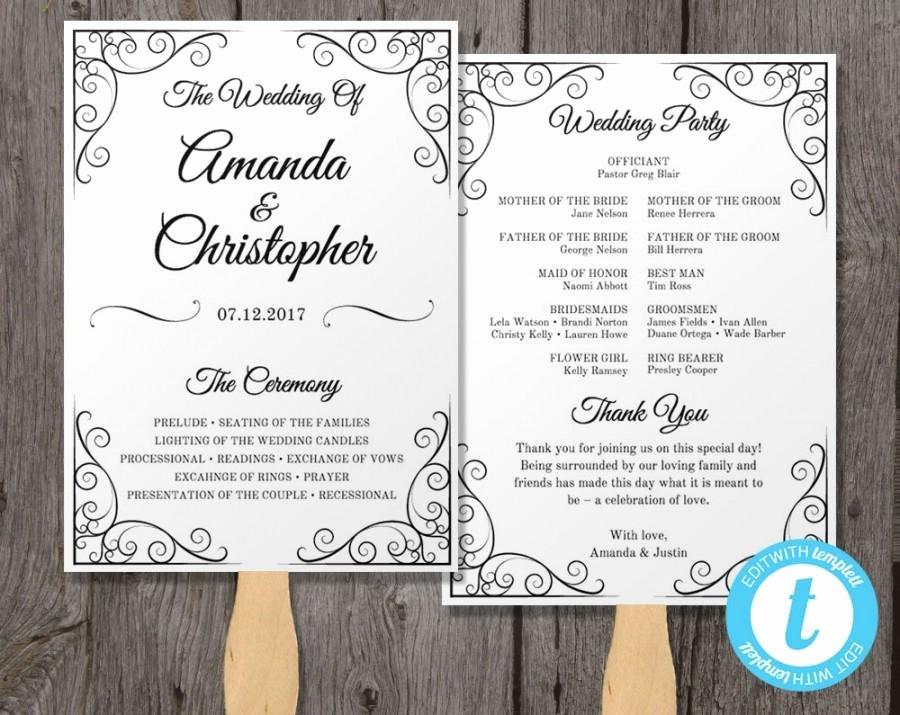 Wedding Program Fans Template Inspirational Vintage Wedding Program Fan Template Fan Wedding Program