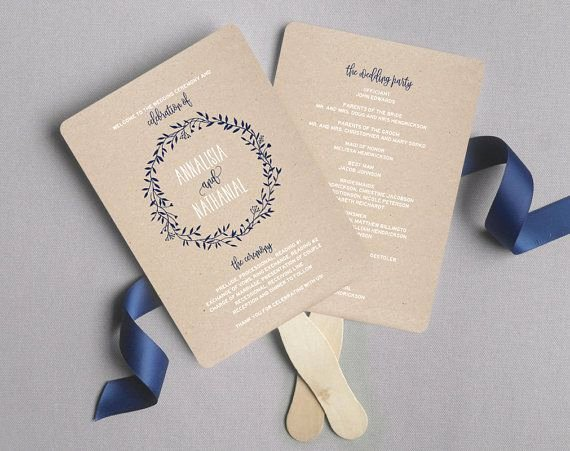 Wedding Program Fans Template Lovely Wedding Program Fan Wedding Program Printable Navy